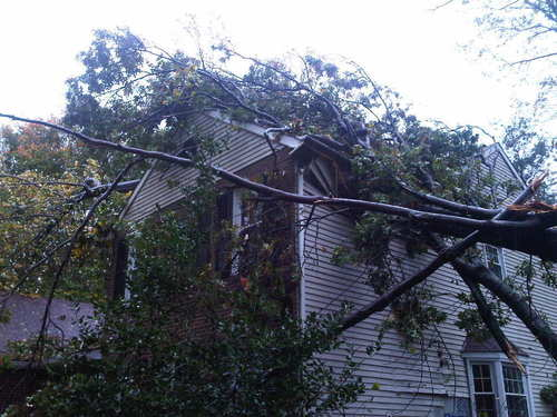 "From reader Dana Davis: ""Here's my house on Twin Oaks Way in north Laurel if you are looking for any more ""local damage"" photos for the Laurel Leader!  Luckily we were hiding out in the basement when it crashed through the roof into the master bedroom, so everyone is OK and the damage is fixable..."""