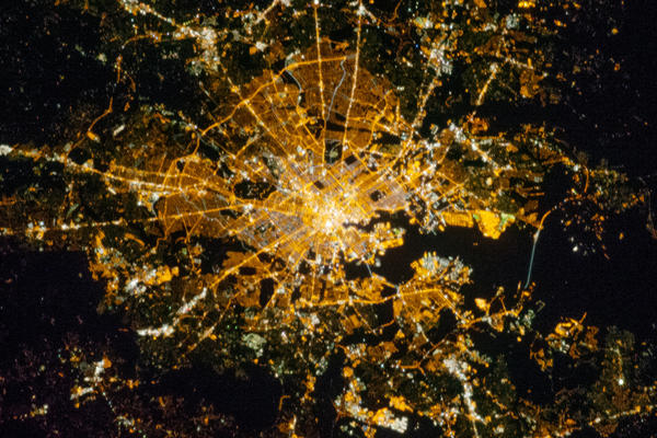 Astronauts on the International Space Station captured a shot of Baltimore by night Oct. 16.
