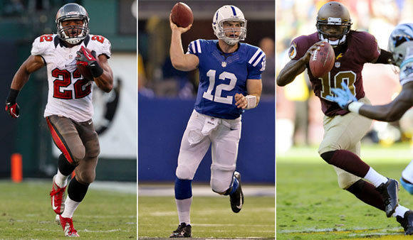 Tampa Bay's Doug Martin, left, Indianapolis' Andrew Luck and Washington's Robert Griffin III all look like rookie-of-the-year candidates.