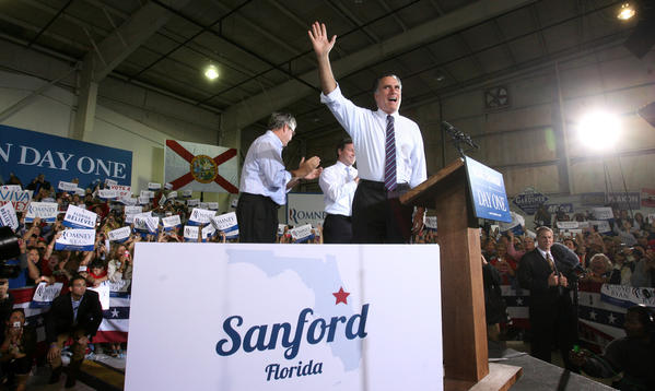 Scenes from Mitt Romney's last rally in Florida of the 2012 campaign, at Sanford-Orlando International Airport, Monday, November 5, 2012.