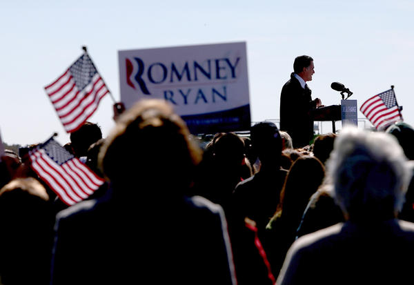 Mitt Romney at a campaign rally at Virginia Aviation in Lynchburg, Va.