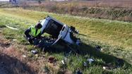 NW Ind. man lucky after pickup splits apart in crash