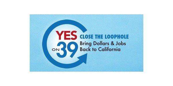 "A screen shot from the Yes on 39 website, showing the ""Close the Loophole"" logo."