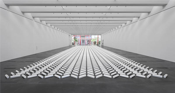 "Two-thousand plaster rods in geometric forms make up Walter De Maria's 1992 ""The 2000 Sculpture."""