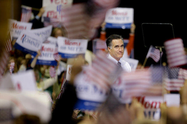 Mitt Romney at a campaign event at George Mason University in Fairfax, Va.