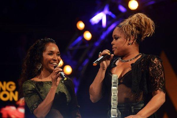 "Rozonda ""Chilli Thomas"" left, and Tionne ""T-Boz"" Watkins of TLC accept the award for Outstanding Contribution to Music at the 2012 MOBO awards in Liverpool, England."