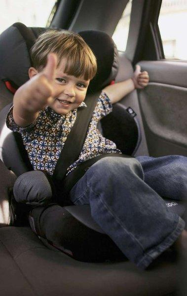 Booster seats, like this one, help kids use a car's seat belts safely.
