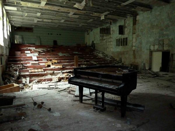 Photo of a music classroom in Chernobyl taken by Diana Thater in 2010 during the making of her video, running at David Zwirner Nov. 9 to Dec. 22.