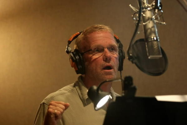 Steve Downes, the voice of Master Chief in the video game Halo series, records a few lines in the Chicago Recording Co. studios in Chicago.
