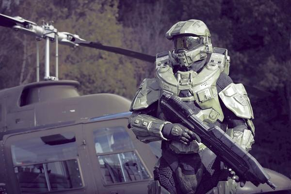 Master Chief stands guard during the HALO 4 launch by Xbox 360 in Balzers, Liechtenstein.