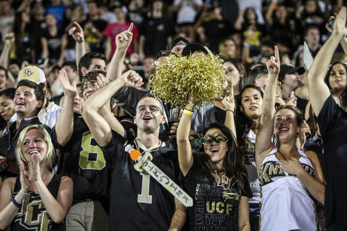 UCF fans cheer during first quarter action of a C-USA football game against SMU at the Brighthouse Networks Stadium on Saturday, November 03, 2012 in Orlando, Fla.