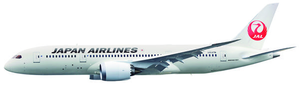 Japan Airlines is the second carrier to commercially fly the Dreamliner. Its 787 can accommodate 186 passengers, 144 in economy and 42 in business.