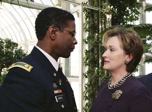 "Denzel Washington and Meryl Streep in the 2004 film ""The Manchurian Candidate."""
