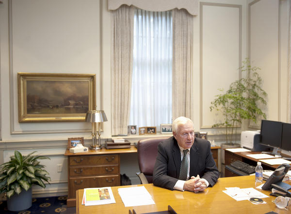 Penn State University President Rodney Erickson speaks in his office in Old Main in University Park on Monday.
