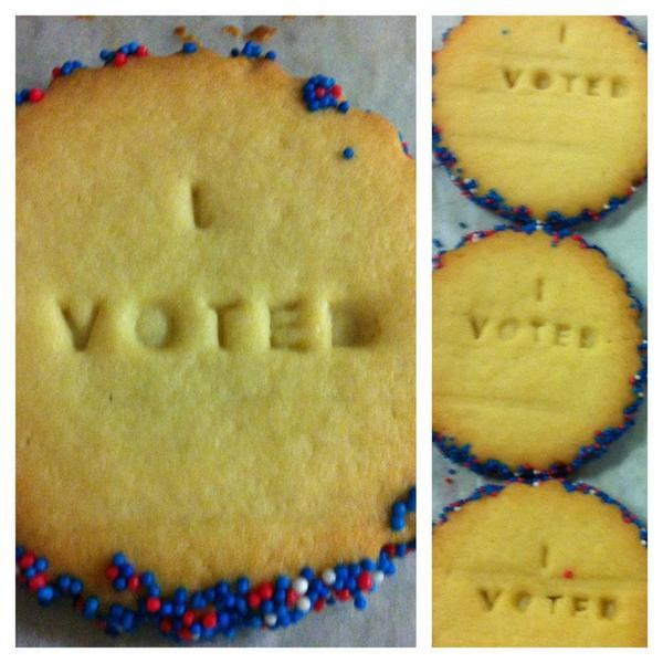 "The Village Bakery in Atwater is offering free ""I voted"" cookies to voters."