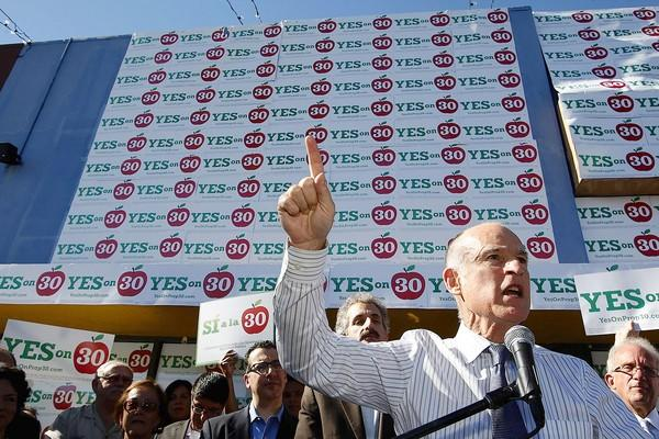 Gov. Jerry Brown speaks at a rally in support of Proposition 30 held Monday at Plaza de Valle Shopping Center in Panorama City. Brown, on a five-city swing Monday stretching from San Diego to San Francisco, has redoubled his efforts in recent weeks to pass his proposal.