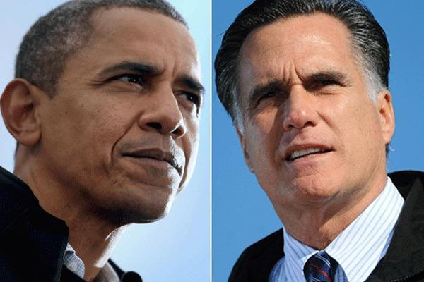 President Obama, left, and Mitt Romney are seen campaigning the day for the November 6 presidential election.