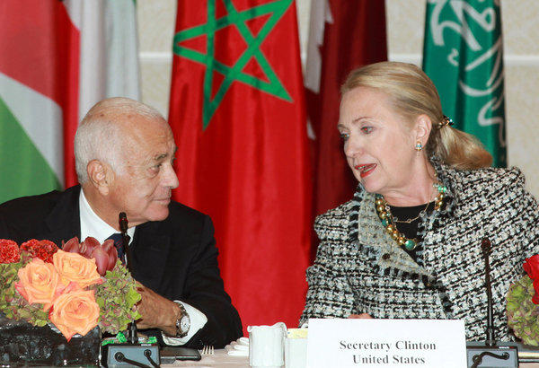 "Secretary of State Hillary Rodham Clinton, right, welcomes Nabil Elaraby, head of the Arab League, as she hosts a gathering of Friends of Syria group on Sept. 28 in New York. Looking forward to this week's meeting of Syrian opposition figures in Qatar, Clinton said last week that the Syrian National Council, a group dominated by longtime exiles, ""can no longer be viewed as the visible leader of the opposition,"" though it could be ""part of a larger opposition."""