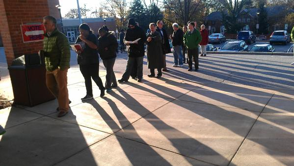 The line for voting continues outside at Dumbarton Middle School in Towson.