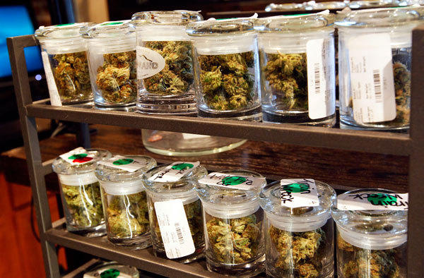 Several varieties of marijuana buds are displayed for sale at a medical marijuana center in Denver April 2, 2012.