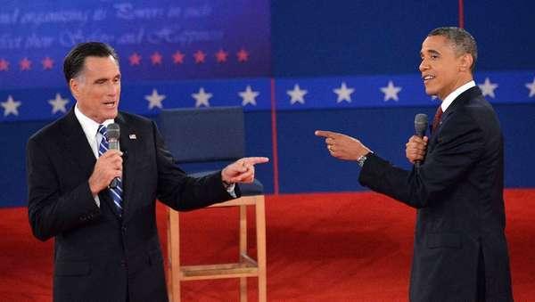 Mitt Romney and President Obama debate at Hofstra University in Hempstead, N.Y.