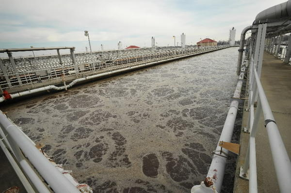 Chlorination at treatment plants, such as Baltimore's Back River facility shown here, appears to kill antibiotic-resistant bacteria, but study suggests plant workers may be at risk.