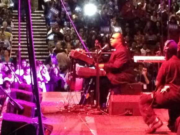 Stevie Wonder played an Obama rally at Scope in Norfolk.