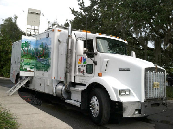 NBC News truck parked outside of polling place at Leu Gardens in Orlando, Fla. on election day, Tuesday, November 6, 2012.