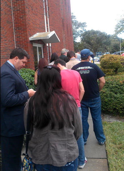 Voters lined up at College Park Baptist Church in Orlando, Fla on Tuesday, November 6, 2012.