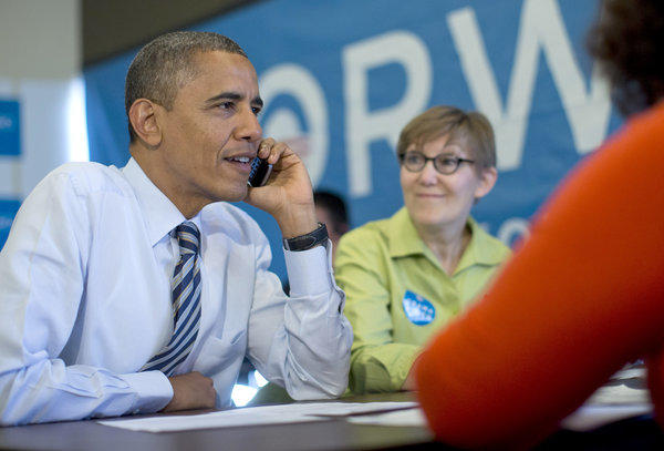 President Obama joins a last-minute, get-out-the-vote operation at his Chicago campaign office, making calls to the swing state of Wisconsin.