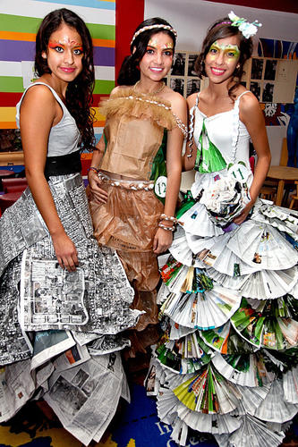 "Jennifer Candela, left, Maria Gonzalez and Rosario Chinchilla model last year's designs at Young At Art Museum's annual ""Recycled Fashion Show."" This year's event will take place on Nov. 16 at the museum located in Davie and will feature an ""Architecture Restyled"" theme. Recycled materials will be used to create clothing designs that museum teen volunteers and girls from the PACE Center for Girls will debut on the runway. To see more photos from Society Scene's Broward edition, visit www.Facebook.com/SocietyScene."