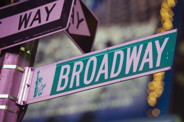 A New York street sign at Broadway in Times Square. Shows predictably took a significant hit at the box office following super storm Sandy last week.