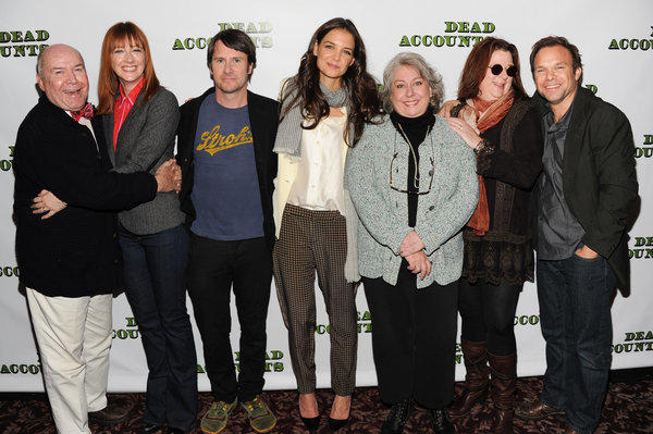"The cast of the Broadway play ""Dead Accounts,"" from left, Jack O'Brien, Judy Greer, Josh Hamilton, Katie Holmes, Jayne Houdyshell, Theresa Rebeck and Norbert Leo Butz pose for a photo in New York."