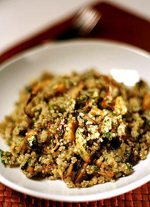 Quinoa salad with shiitakes, fennel and cashews.