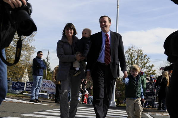 Democratic candidate for Senate Chris Murphy arrives to vote at Cheshire High School.
