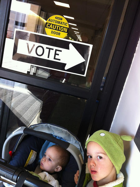 The kids after our polling place adventure today.