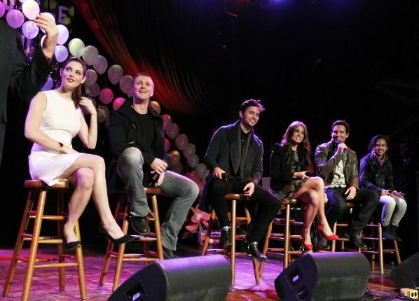 "(L to R) ""Twilight: Breaking Dawn - Part 1"" cast members Ashley Greene, Charlie Bewley, Jackson Rathbone, Nikki Reed and Peter Facinelli and ""Twilight"" fan Tanya Munoz at the House of Blues November 8, 2011."