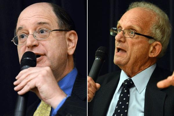 Brad Sherman, left, participated in a debate with Howard Berman at the ONEgeneration Senior Center in Reseda.