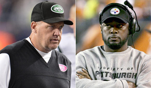 New York Jets Coach Rex Ryan, left, seems to be all talk, while Pittsburgh Coach Mike Tomlin has quietly gone 60-28 in six seasons with the Steelers.