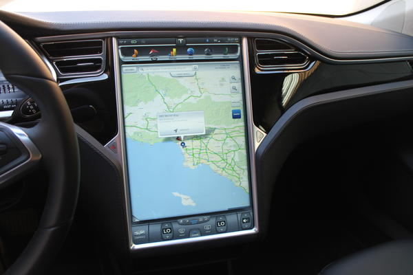 The most dramatic aspect of the inside of the Model S is the 17-inch touch screen. You can use the entire display for the navigation system, which uses Google Maps.