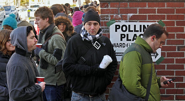 Voters in Somerville, Massachusetts, a suburb of Boston, wait up to two hours to vote on a very cold morning.
