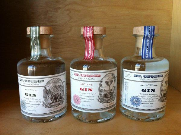 A trio of 200-milliliter bottles of gin from St. George Spirits.