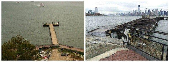 The auxiliary dock on Liberty Island before Hurricane Sandy, left, and after the superstorm hit.