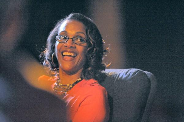 Former Baltimore Mayor Sheila Dixon laughs during her roast and toast at the Baltimore Comedy Factory. Proceeds benefit AGAPE House and Funniest Celebrity Charity Fund.