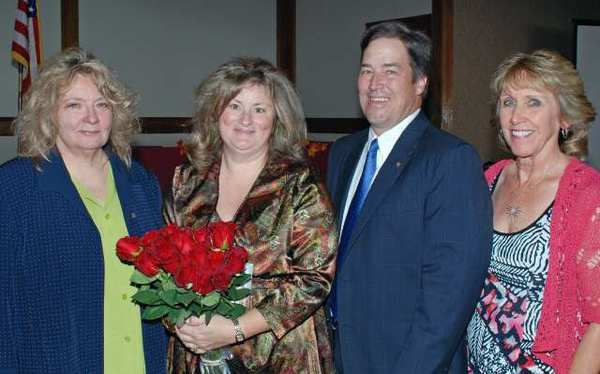 Honoring 2012 Woman of the Year Shanna Warren, second from left, are Zonta President Grace Farenbaugh, left, Mayor Dave Golonski and former City Treasurer Donna Anderson.