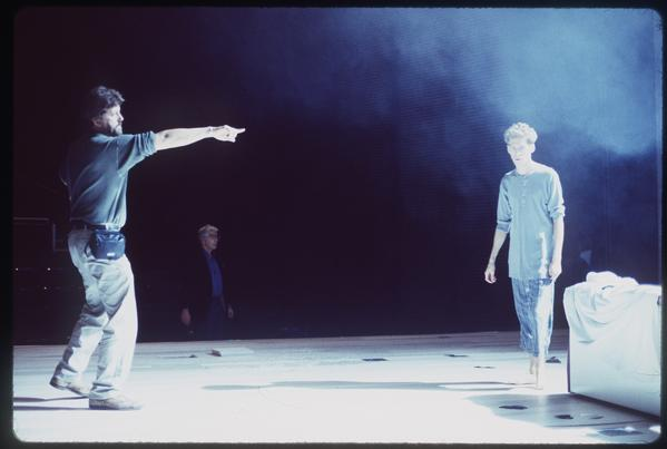 "Co-director Oskar Eustis, left, and Stephen Spinella rehearse at the Mark Taper Forum. In the background is Gordon Davidson, who, as artistic director of Center Theatre Group, produced ""Angels"" at the Taper."