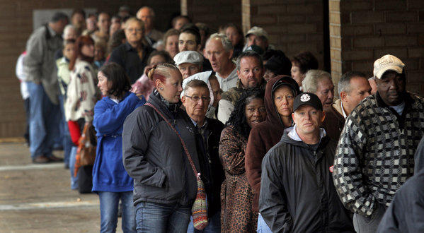 Voters wait in line Tuesday to cast their ballots in South Carolina.