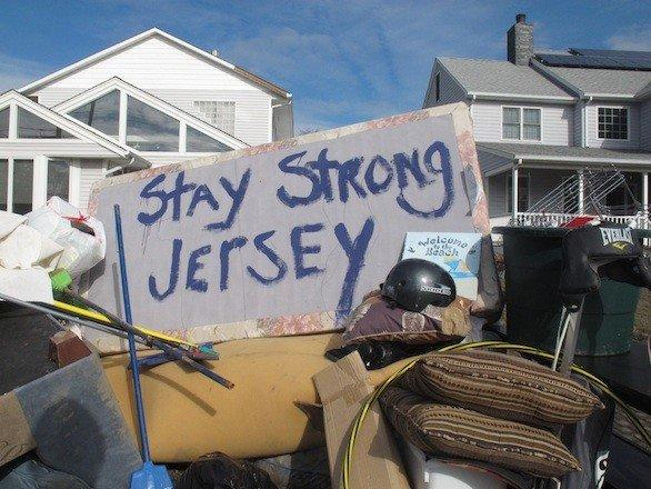 Words painted on the bottom of a mattress in Point Pleasant Beach, N.J., one of the areas hardest hit by Superstorm Sandy.