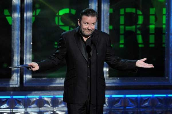 "Ricky Gervais will be a guest on ""The View"" at 10 a.m. on ABC."
