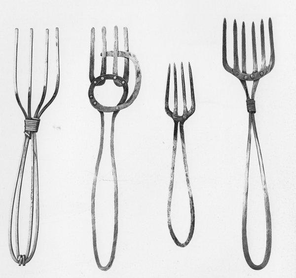 Some of the oversized metal forks sculptor Alexander Calder fashioned for his wife Louisa's kitchen on the spur of the moment.